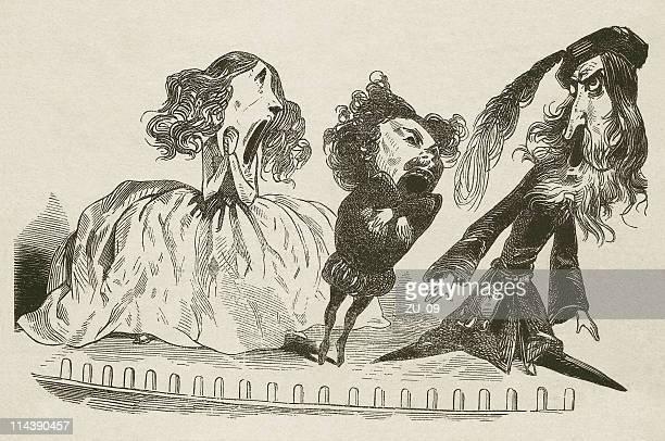 stockillustraties, clipart, cartoons en iconen met in the opera, cartoon, wood engraving, published in 1872 - karikatuur