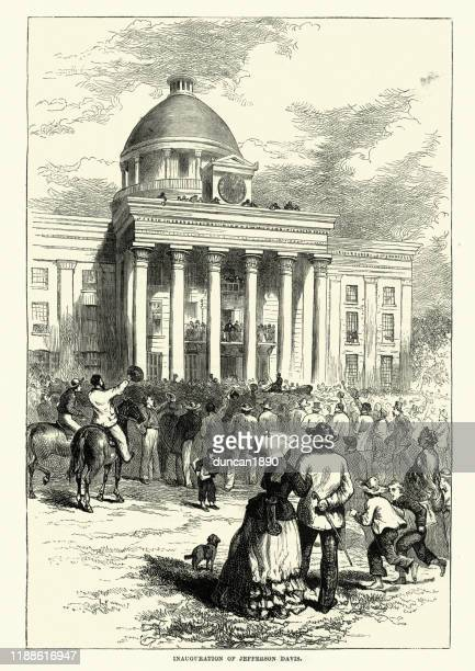 inaguration of jefferson davis as president of the confederate states - montgomery alabama stock illustrations, clip art, cartoons, & icons