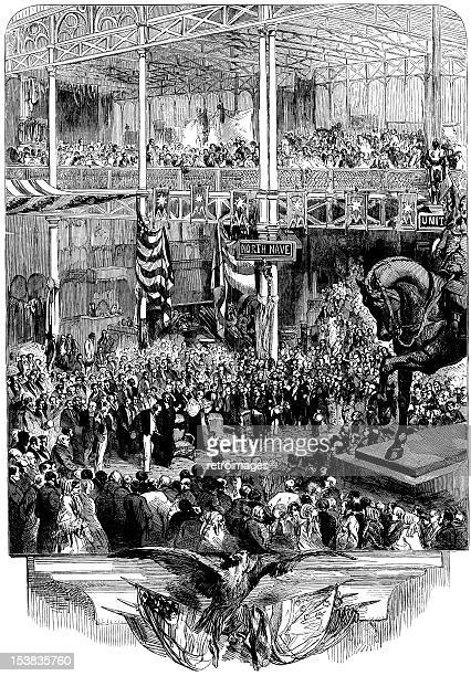 inauguration of the new york crystal palace, illustrated london news - crystal palace london stock illustrations