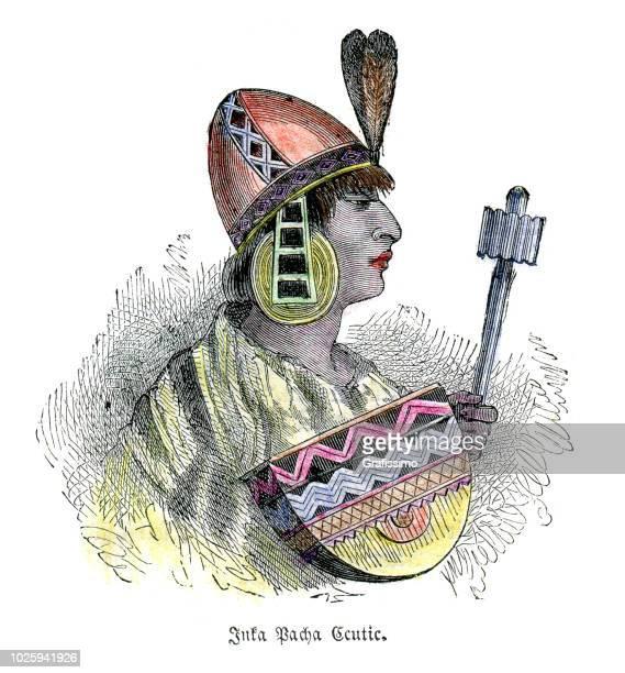 ilustraciones, imágenes clip art, dibujos animados e iconos de stock de inca pachacuti inca yupanqui 15 siglo - machu picchu