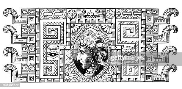 inca prince portrait - indian costume stock illustrations, clip art, cartoons, & icons