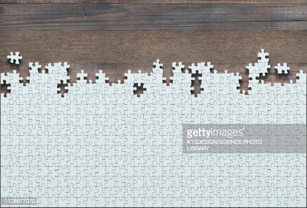 incomplete jigsaw puzzle, illustration - patience stock illustrations