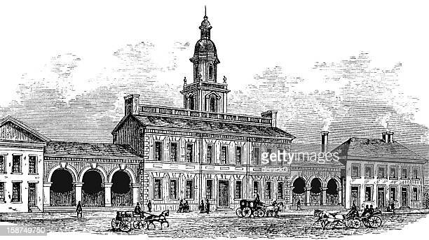 independence hall - bill of rights stock illustrations
