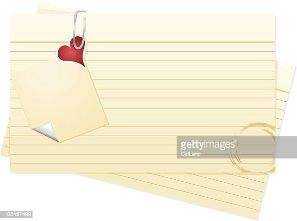 ilustraciones, imágenes clip art, dibujos animados e iconos de stock de tarjetas de índice, con billete de san valentín - tarjeta de archivo