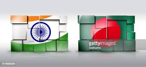 india bangladesh wall with flag as puzzle isolated on white - national border stock illustrations, clip art, cartoons, & icons