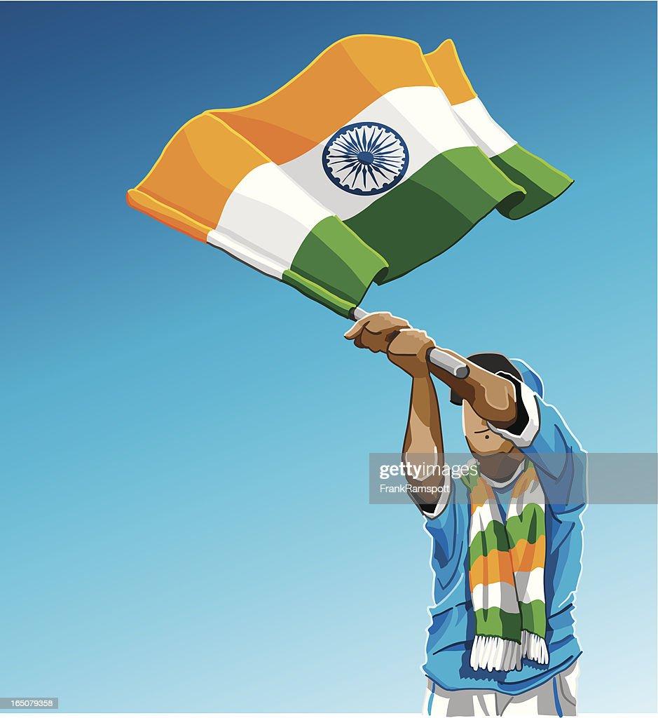 Indien winken Flagge Fußball-Fan : Stock-Illustration