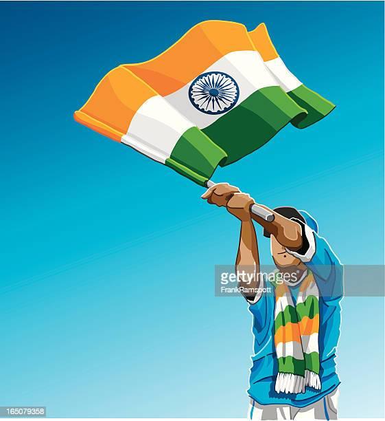india waving flag soccer fan - indian flag stock illustrations
