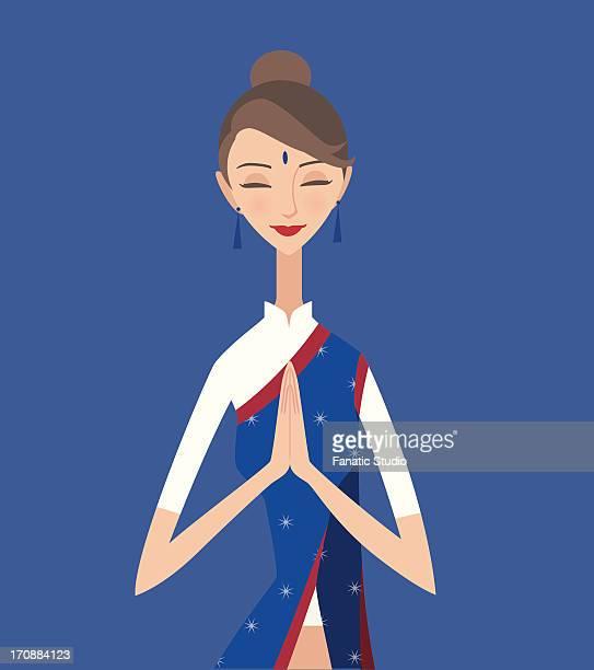 Indian air hostess greeting