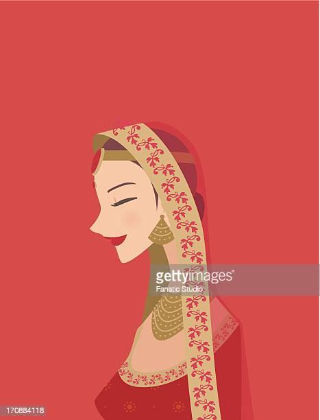 Indian bride wearing traditional wedding dress