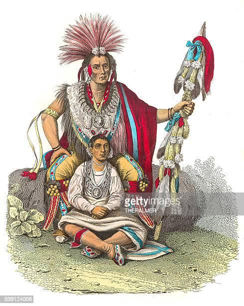 indian chief keokuk engraving 1853 - sauk river stock illustrations, clip art, cartoons, & icons