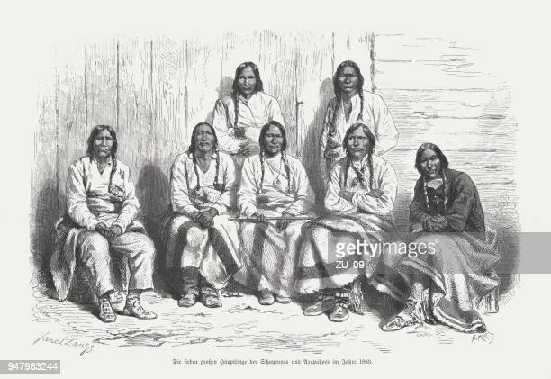 Indian chiefs of Cheyenne and Arapaho, wood engraving, published 1868