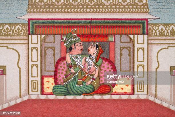 indian couple in the palace of delights, mughal india - mughal empire stock illustrations