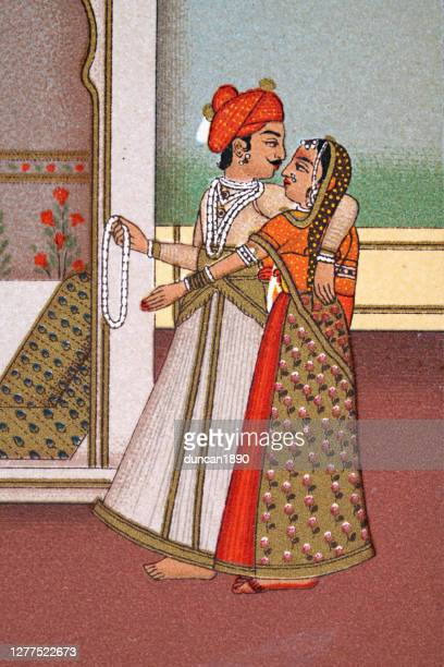 indian couple, traditional costume, mughal india, 19th century - mughal empire stock illustrations