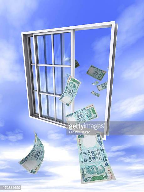 indian currency note flying in and out of window - money out the window stock illustrations, clip art, cartoons, & icons
