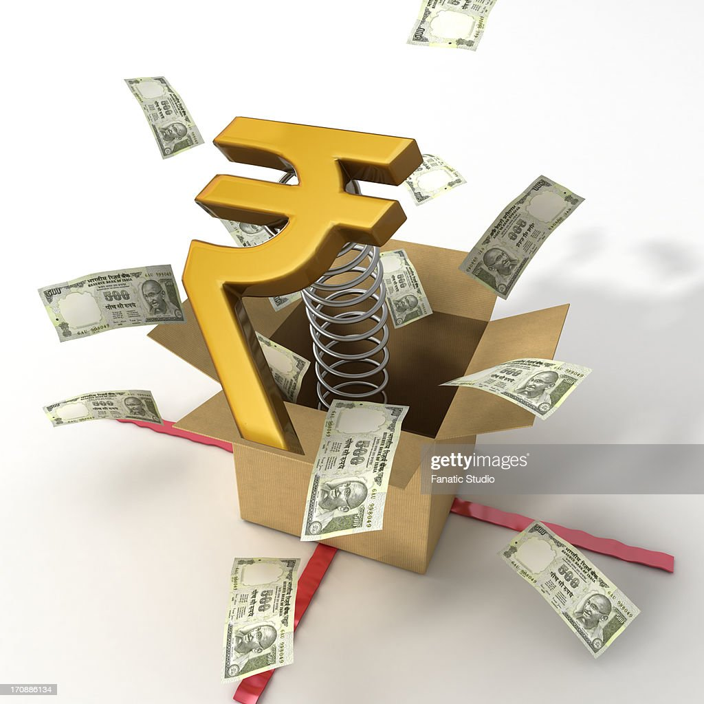 Indian Currency Notes Bouncing Out Of Box With A Gold Rupee Symbol
