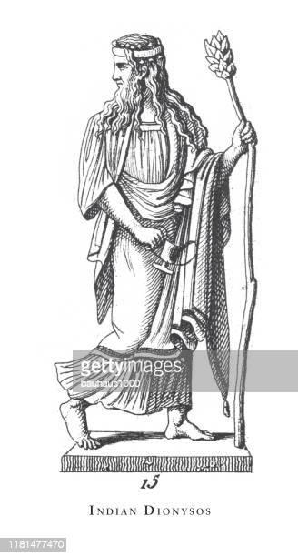 indian dionysos, gods and mythological characters engraving antique illustration, published 1851 engraving antique illustration, published 1851 - classical greek style stock illustrations