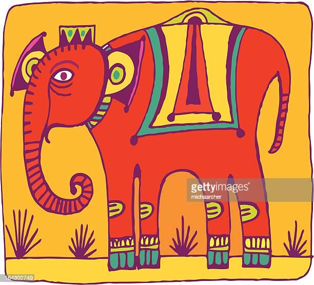 indian elephant - one animal stock illustrations