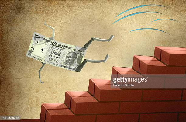 indian five hundred rupee note falling down from brick stairs - bad luck stock illustrations, clip art, cartoons, & icons