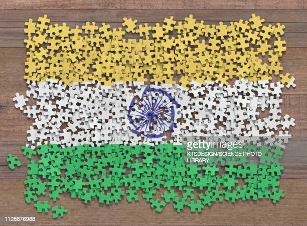 indian flag jigsaw puzzle, illustration - indian flag stock illustrations