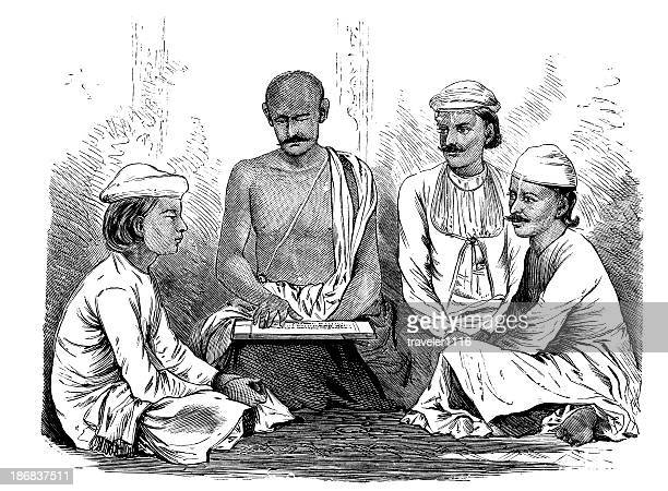 indian men learning - hinauf bewegen stock illustrations