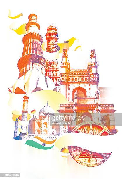 indian monuments collage - monument stock illustrations