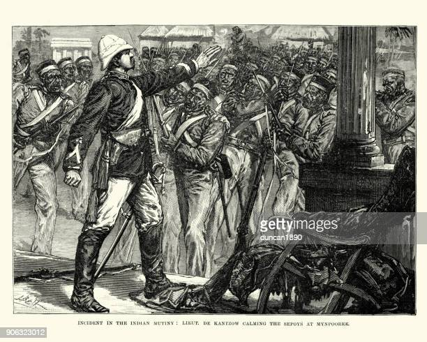indian mutiny, lieutenant de kantzow calming sepoys - british culture stock illustrations