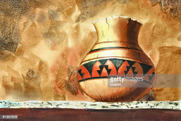 indian pot watercolor painting - pottery stock illustrations, clip art, cartoons, & icons