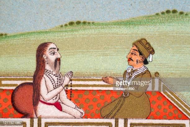 indian prince meeting a guru, mughal india, 19th century - hinduism stock illustrations