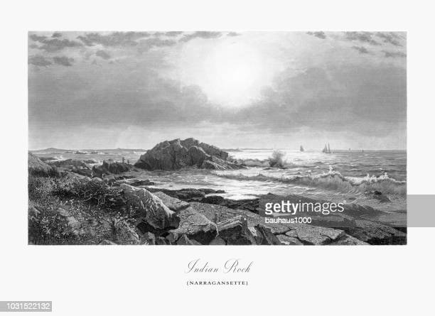 indian rock, narragansett, providence, rhode island, united states, american victorian engraving, 1872 - water's edge stock illustrations