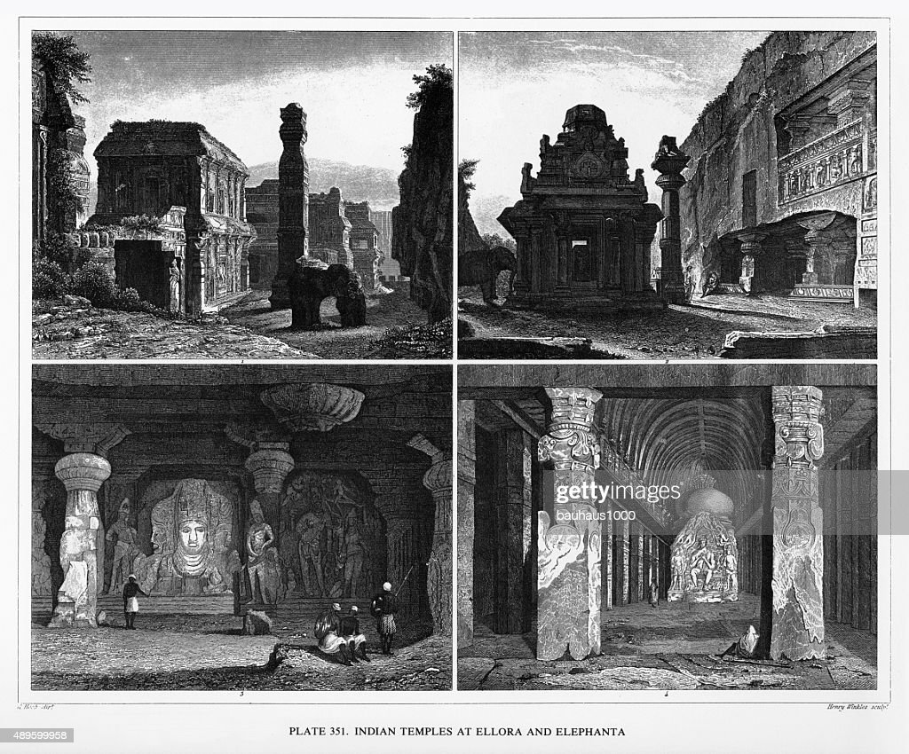 Indian Temples At Ellora And Elephanta Engraving stock