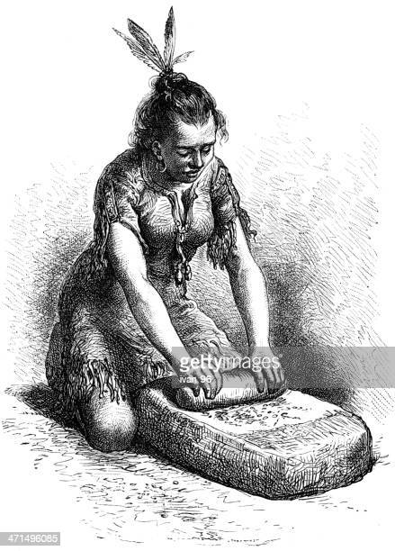 indian woman grinds corn on stone - indian costume stock illustrations, clip art, cartoons, & icons