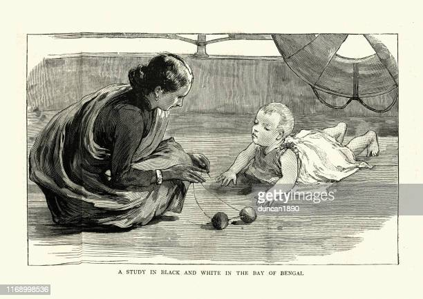 indian woman looking after a british baby, victorian, 19th century - nanny stock illustrations