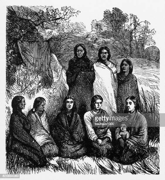 indian women imprisoned by u.s. army engraving, 1878 - indigenous north american culture stock illustrations, clip art, cartoons, & icons