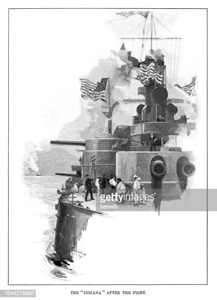 uss indiana after the fight - us military stock illustrations, clip art, cartoons, & icons