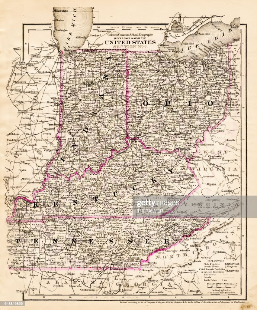 Indiana Ohio Kentucky Map 1881 Stock Illustration Getty Images