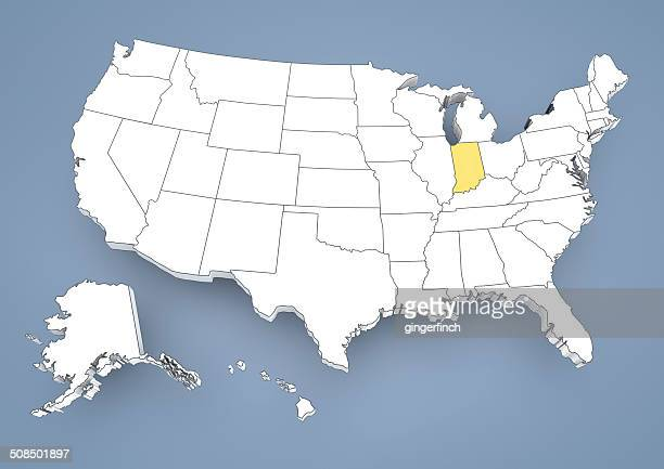 indianapolis, in, highlighted on a contour map of usa, united states of america, 3d illustration - indianapolis stock illustrations, clip art, cartoons, & icons
