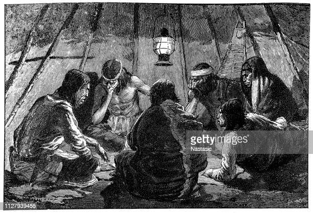 indians from apache territory playing the game of chance monte - cherokee culture stock illustrations, clip art, cartoons, & icons