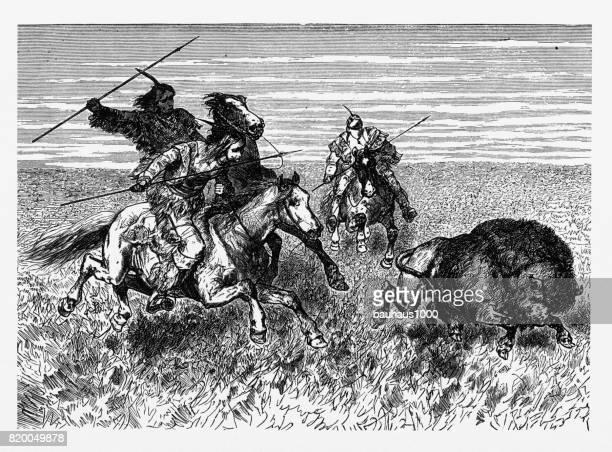 Indians Hunting Bison, Native American Engraving, 1887