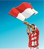 Indonesia Waving Flag Soccer Fan