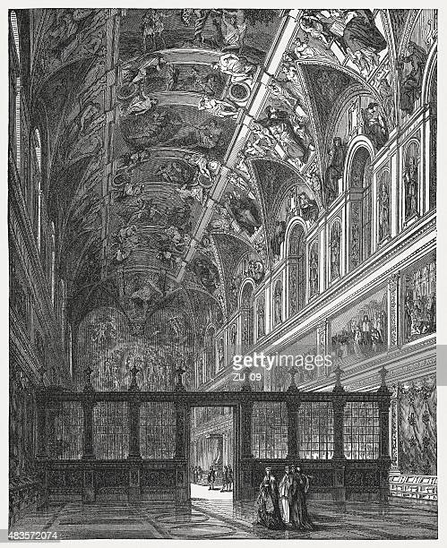 Indoor view of Sistine Chapel, Vatican, published in 1878
