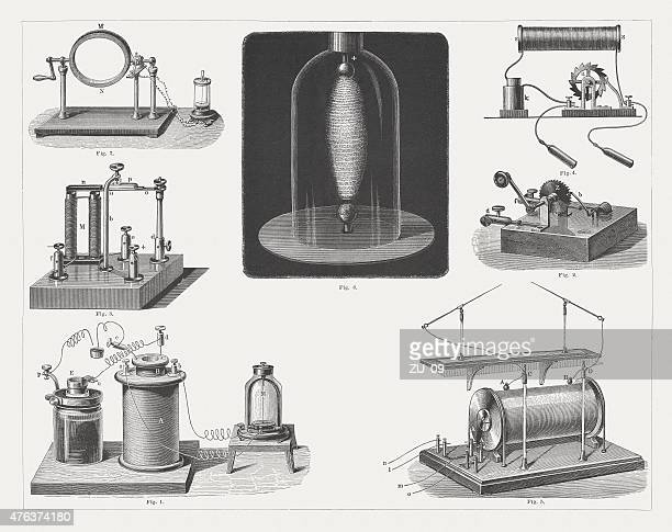 Induction apparatus, wood engraving, published in 1877