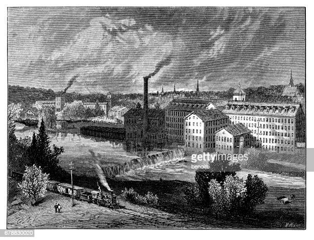 industrial revolution in the 1800s - industrial revolution stock illustrations
