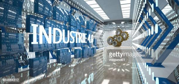 industry 4.0 with bytes and gear wheels in the futuristic room, 3d illustration - rechnerunterstützte fertigung stock-grafiken, -clipart, -cartoons und -symbole