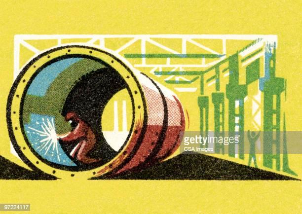 ilustraciones, imágenes clip art, dibujos animados e iconos de stock de industry - soldar