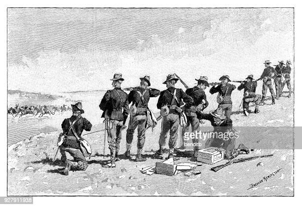 infantry shooting at cavalry - cavalry stock illustrations