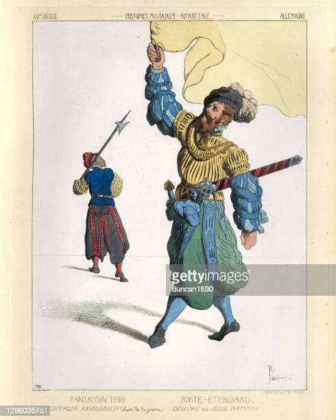 infantry soldier and standard bearer, german 16th century, military costumes - halberd stock illustrations