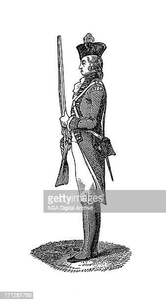 infantryman at the time of george ii | historic illustrations - bill of rights stock illustrations