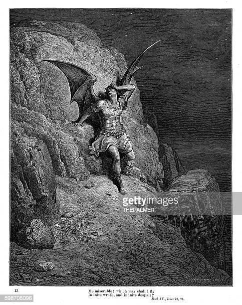 infinite wrath and infinite despair 1885 - john milton stock illustrations, clip art, cartoons, & icons