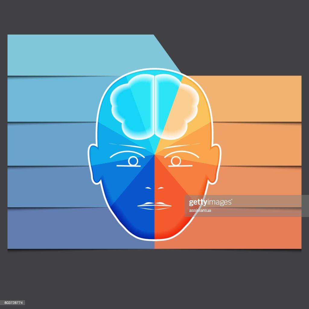 Infografikvorlage Mit Abstrakter Kopf Gehirn Stock-Illustration ...