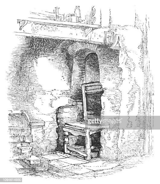 inglenook or chimney corner at shakespeare's house in stratford-upon-avon, england - 16th century style stock illustrations, clip art, cartoons, & icons